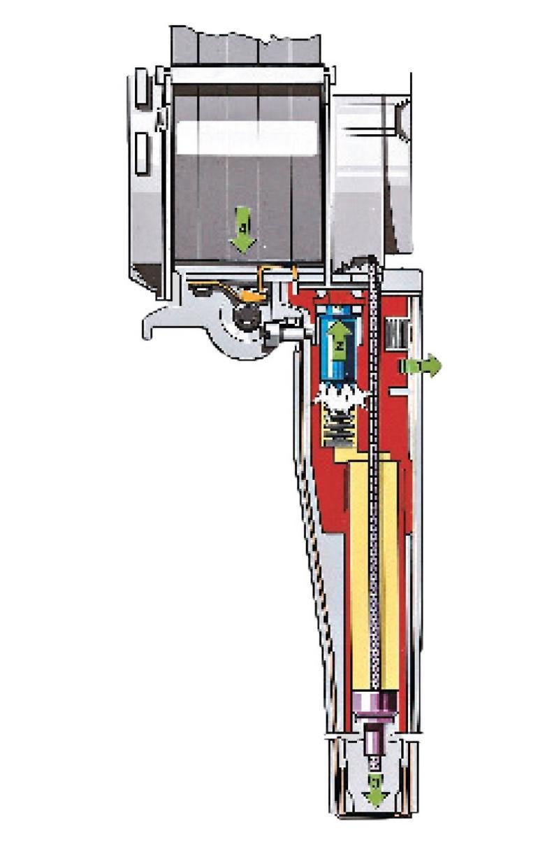 Czujnik (1) rozpoznaje zbyt duże przeciążenie i odpala ładunek (2). Powstały podczas eksplozji gaz działa na tłok (3), połączony linką z napinaczem, który nawijając pas (4) na bęben, napręża go.