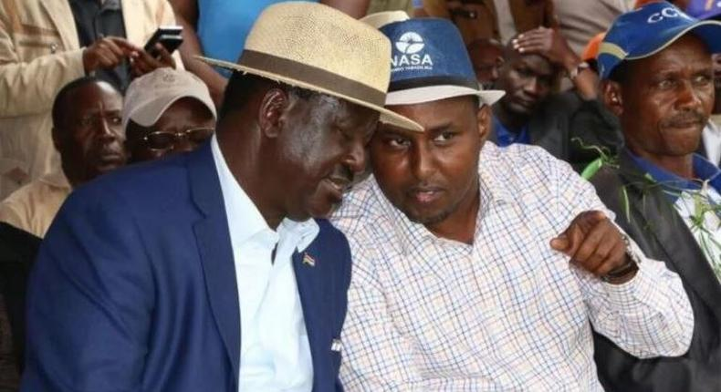 File image of Raila Odinga with Junet Mohamed. Junet has led MPs in declaring support for new currency notes with Jomo Kenyatta statue