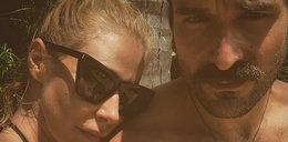 Katarzyna Warnke na pikantnej fotografii w skąpym bikini. Na basenie zdjęcia robił jej Piotr Stramowski