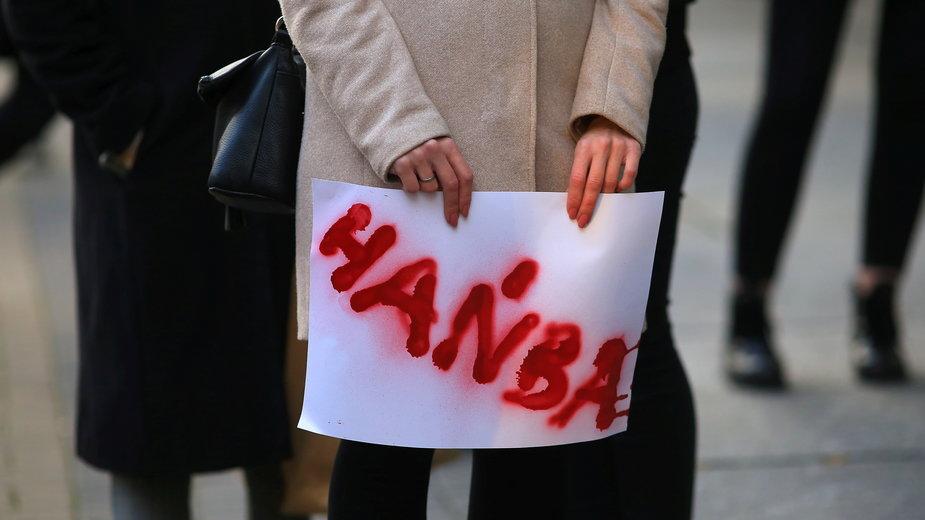 Białystok. Strajk Kobiet. Zdjęcie wykonane 23.10