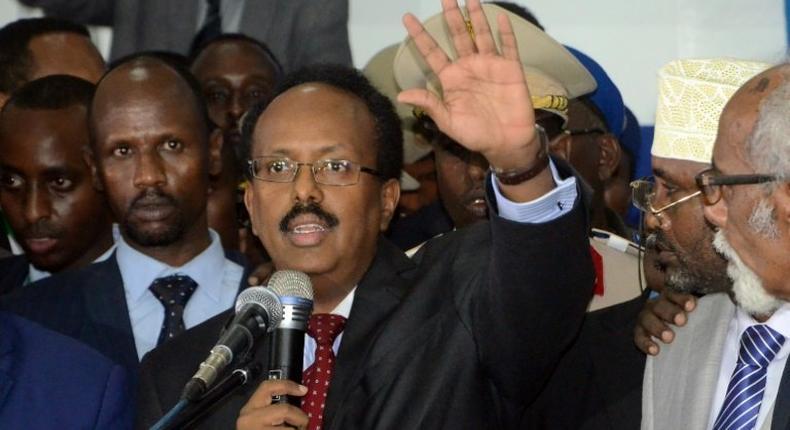 Somalia's President Mohamed Abdullahi Mohamed gives an address in Mogadishu on February 8, 2017