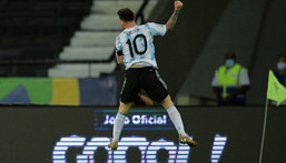 Lionel Messi celebrates his goal against Chile in the first Group A match of the Copa America June 14, 2021 at the Nilton Santos Olympic Stadium in Rio de Janeiro Creator: CARL DE SOUZA