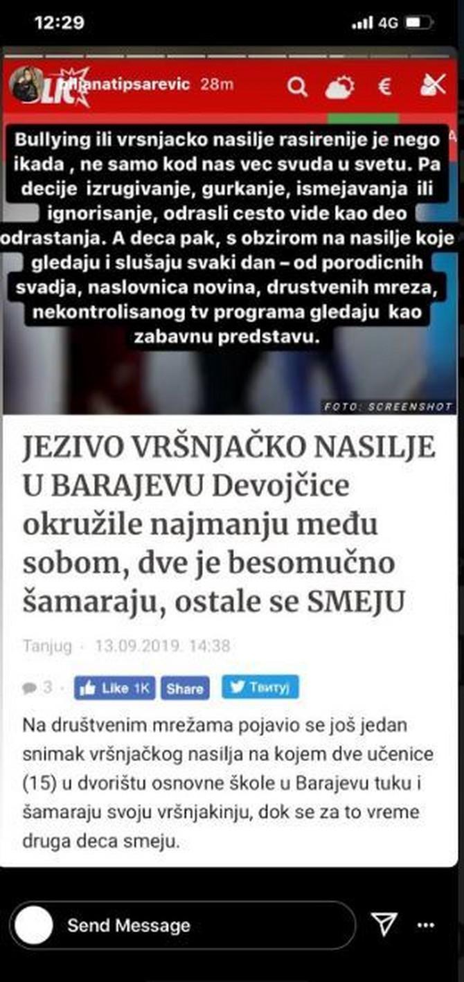 Bilajana Tipsarević otvoreno o vršnjačkom nasilju