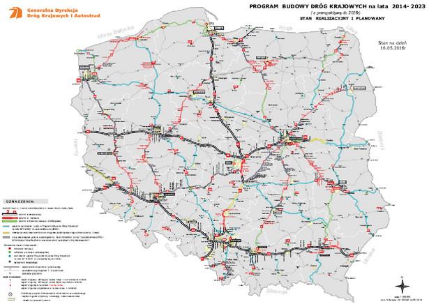 Program budowy dróg krajowych na lata 2014-2023 - stan na dzień 16.05.2016