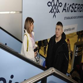 Kija Kockar i Sloba Radanović na aerodromu