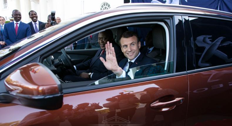 A peek inside President Uhuru Kenyatta's 'new car' in which he gave a ride to President Emmanuel Macron