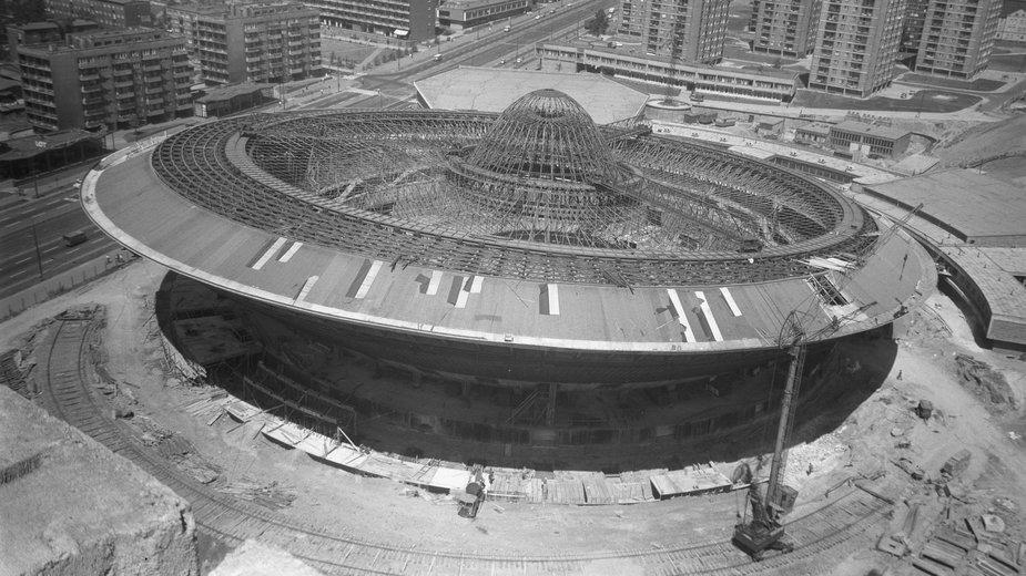 Budowa Spodka w Katowicach, 1969 r.