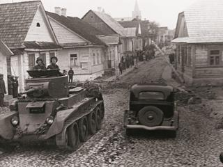 Red army tank drivers on a street in the city of rakov, poland, september 1939: soviet invasion of eastern poland, soviet troops were ordered to cross the frontier and 'take over the protection of life and property of the population of western ukrain