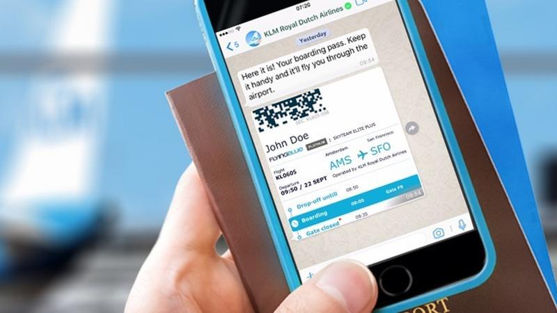 Karta pokładowa KLM w aplikacji WhatsApp