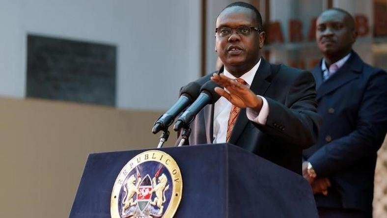 Kenya's Sports Minister Hassan Wario addresses a news conference on the World Anti-Doping Agency (WADA) recommendations that judged Kenya as non-compliant with the WADA code, in the capital Nairobi, May 13, 2016.