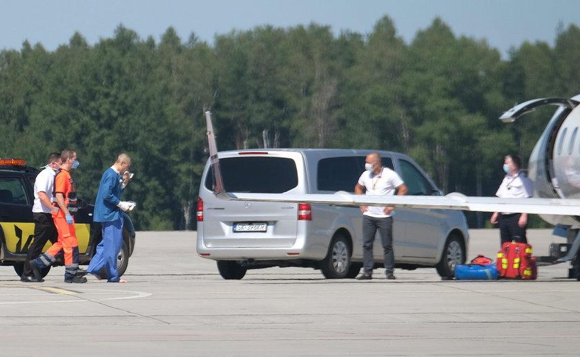 Fabio Jakobsen w drodze na lotnisko