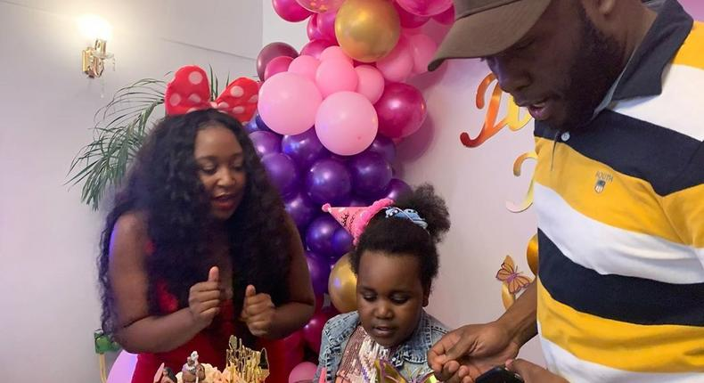 Dennis Okari with Betty Kyalllo and their Daughter Ivanna. Emotions run high as Dennis Okari attends daughters 6th Birthday Party (Video/Photos)
