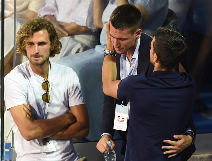 Novak, Marko i Đorđe Đoković na finalu Adria tour turnira u Beogradu između Filipa Krajinovića i Dominika Tima