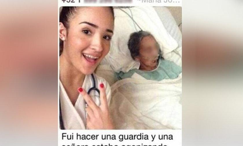 Studentka medycyny zrobiła sobie selfie z pacjentką w agonii