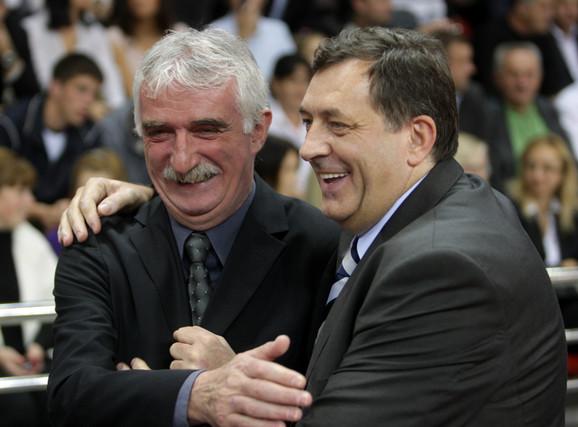 Dragan Kićanović i Milorad Dodik na otvaranju dvorane u Laktašima