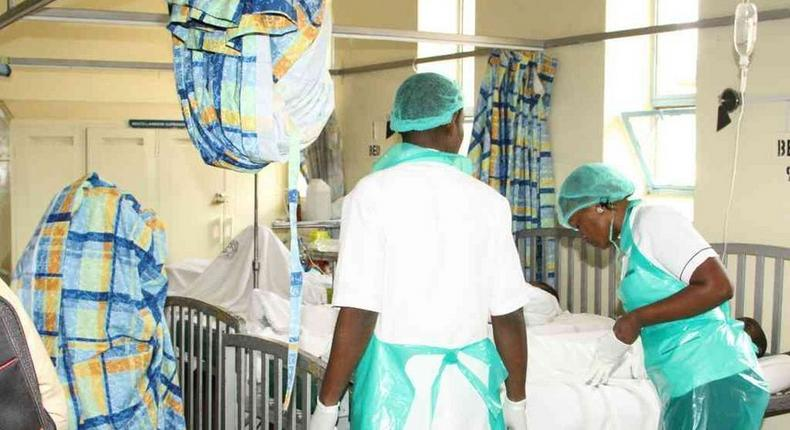 Medics attending to patients in a Kenyan hospital