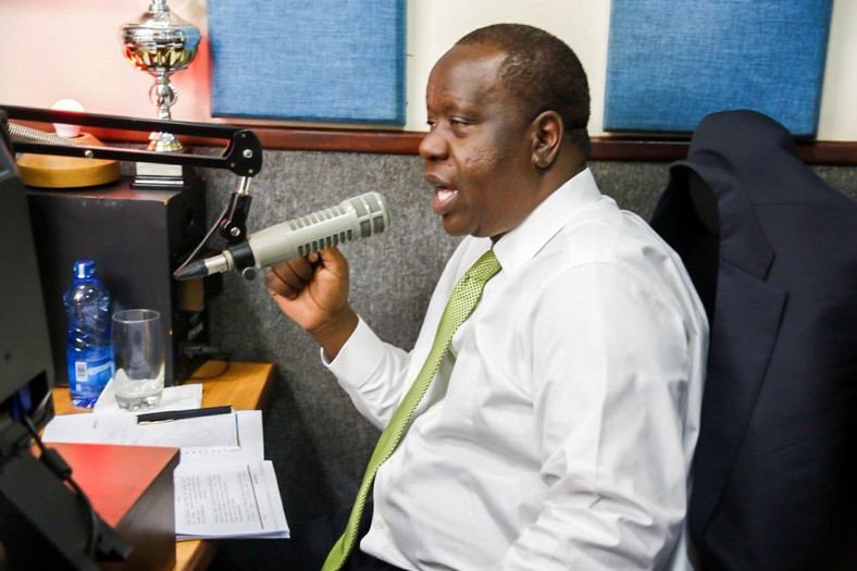 Interior CS Fred Matiang'i during the interview with Kameme (Twitter)