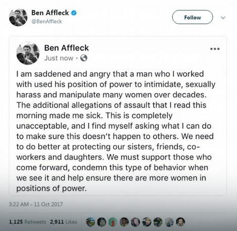 Aflekova izjava povodom optužbi na račun Vajnštajna