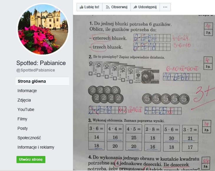 Screen ze strony Spotted: Pabianice