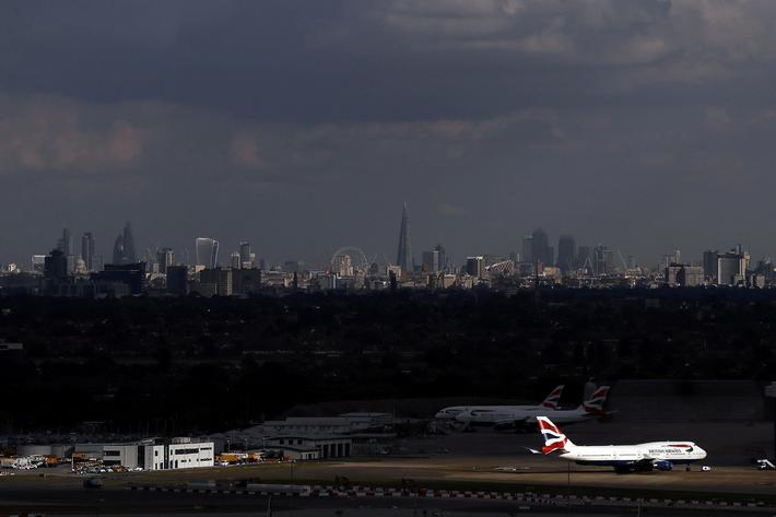 A British Airways plane is parked at Heathrow Airport near London