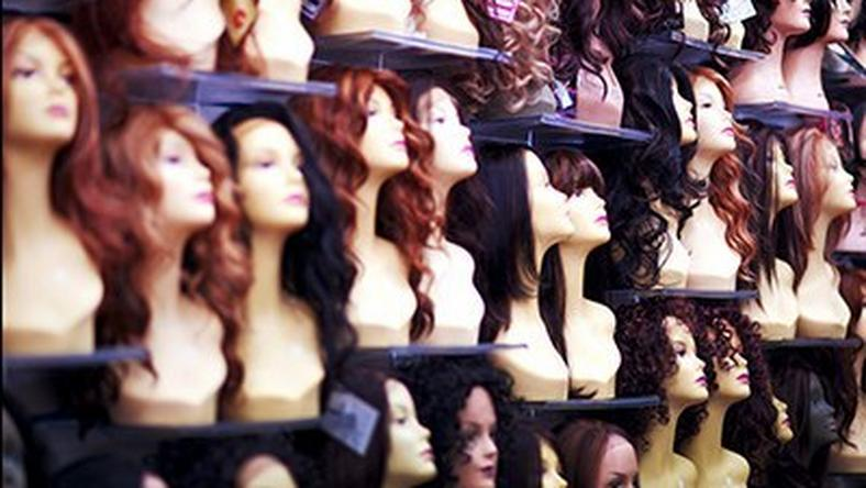 A variety of wigs