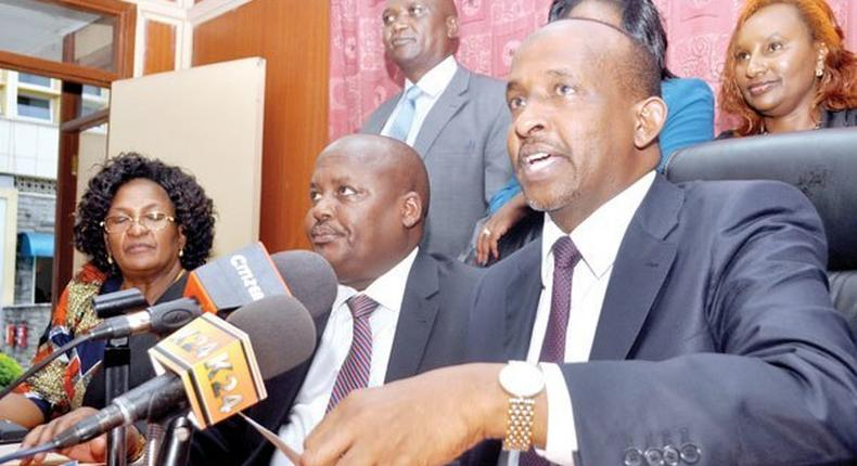 Leader of majority in parliament Aden Duale (right) alongside Tiaty MP Asman Kamama and other Jubilee parliamentarians during a past press conference.