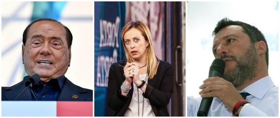 Italijanska desnica: Silvio Berluskoni, Đorđa Meloni i Mateo Salvini