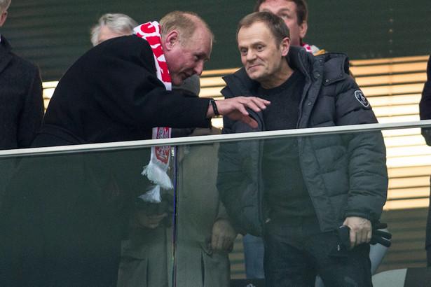 Jan Tomaszewski i Donald Tusk na Stadionie Narodowym.