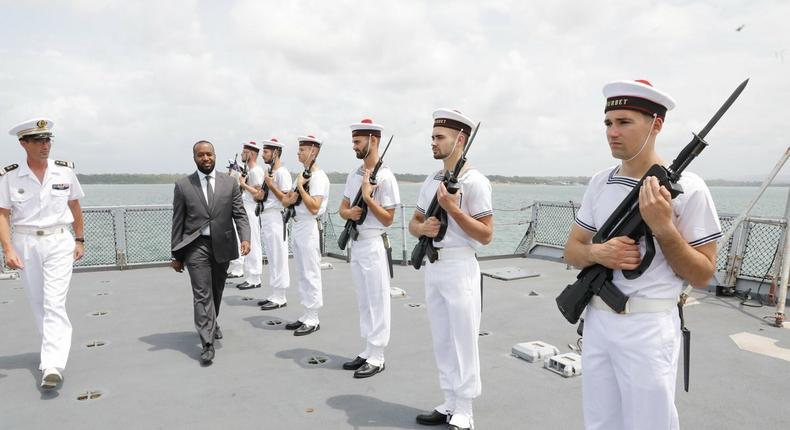 Mombasa Governor Hassan Joho inspects a guard of honour.