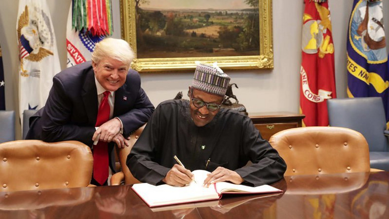 President Donald Trump (L) and President Buhari (R) during a meeting at the White House on August 30, 2018 (Presidency)