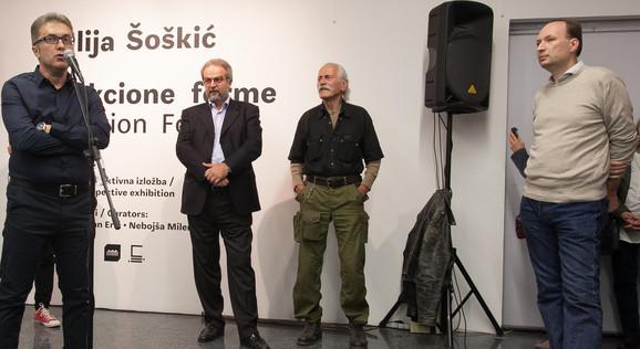 Nebojša Milenković, Slobodan Nakarada, Ilija Šoškić i Zoran Erić na otvaranju u Muzeju savremene umetnosti Vojvodine