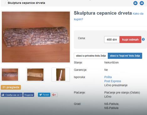 Za 400 dinara - skulptura cepanica drveta