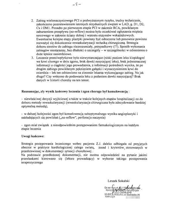 Opinia doktora Sokalskiego