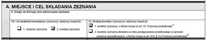 Jak zaznaczyć korektę zeznania w formularzu PIT-37 składanym w maju 2020 r.