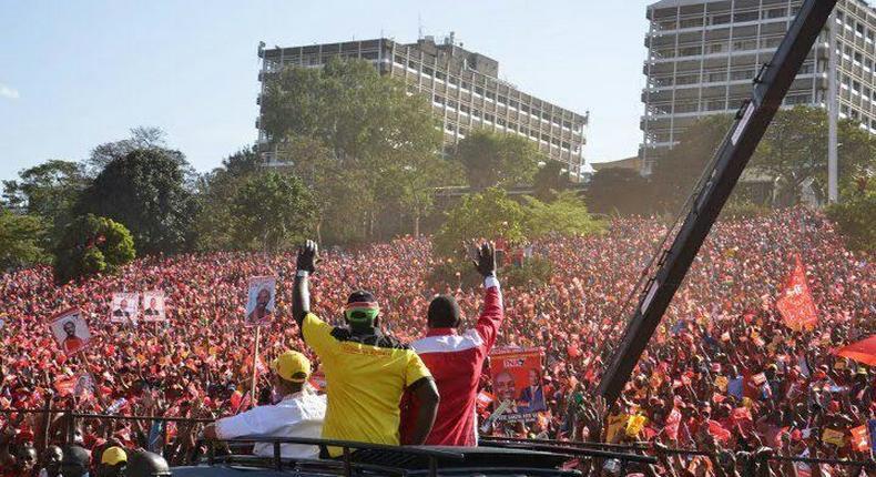 Uhuru Ruto rally (President Uhuru Kenyatta and his Deputy William Ruto wave to their supporters in the run up to the 2013 general elections at Uhuru Park, Nairobi