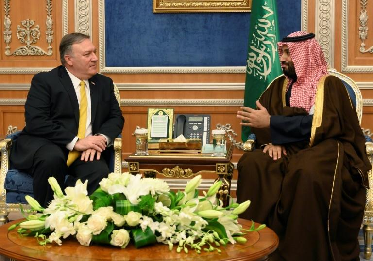 US Secretary of State Mike Pompeo (left), pictured with Mohammed bin Salman in January 2019, is due to meet the Saudi crown prince in Jeddah