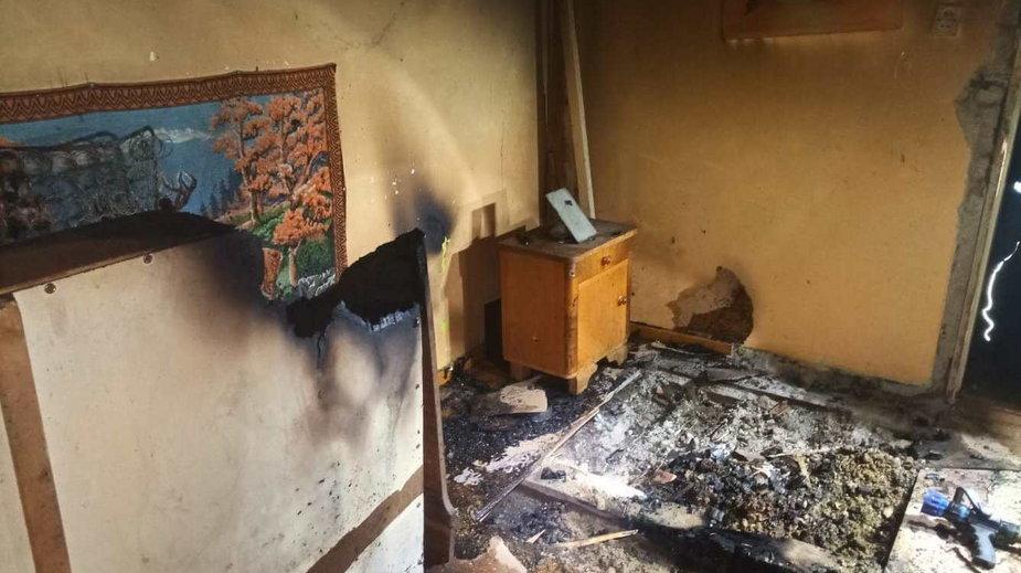 Spalone mieszkanie w Złocieńcu. Fot. MDP OSP Złocieniec