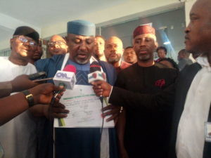 Former Imo State Gov Rochas Okorocha, speaking with newsmen at INEC headquarters, on Tuesday in Abuja, shortly after collecting his certificate of return as Senator elect for Imo West Senatorial District (NAN)