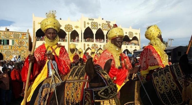 Horsemen take part in the Durbar festival parade in Zaria, Nigeria September 14, 2016.