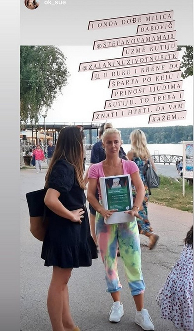 Milica Dabović sa kutujom za pomoć maloj Lani
