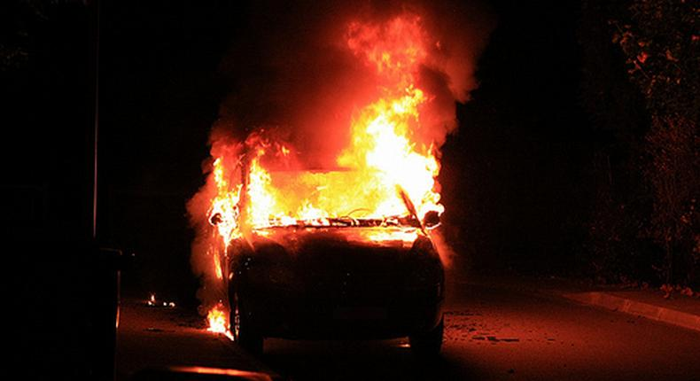 Angry residents attack and torch police vehicle