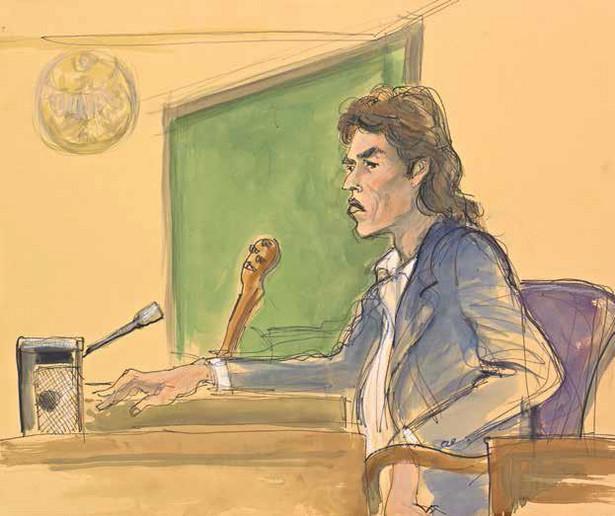 Mick Jagger przesłuchiwany w sprawie oskarżenia o plagiat, 1988./ rys. Elizabeth Williams