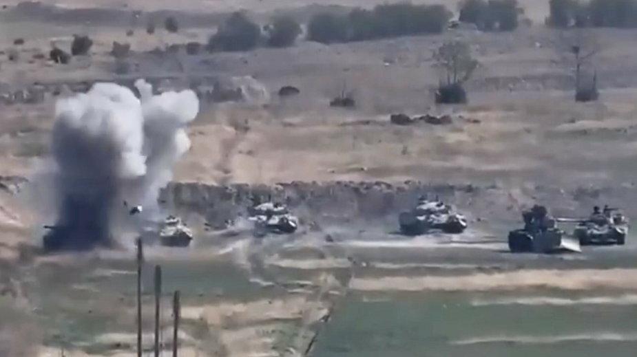 Zdjęcie z materiału wideo udostępnionego przez ministerstwo obrony Armenii pokazuje rzekomą porażkę oddziałów Azerbejdżanu