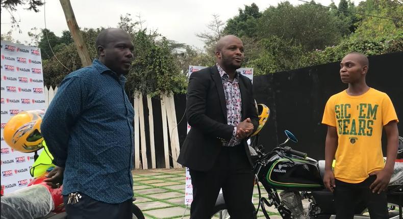 Jalang'o hands over two Motorcycles to Nitakufinya duo [Video]
