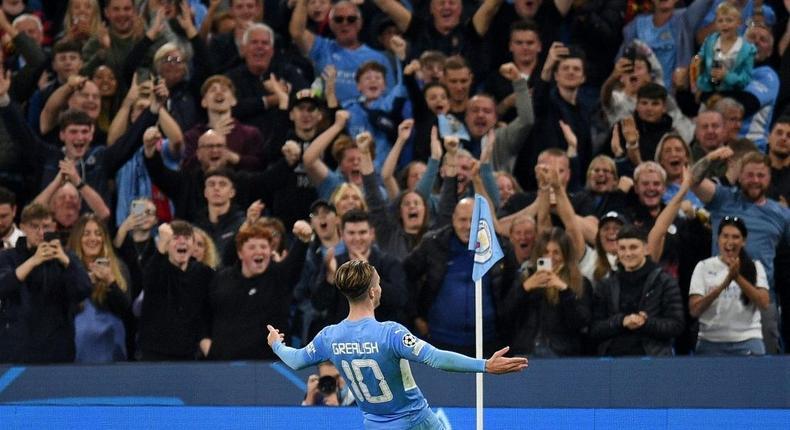 Manchester City's Jack Grealish celebrates scoring against Leipzig Creator: Oli SCARFF