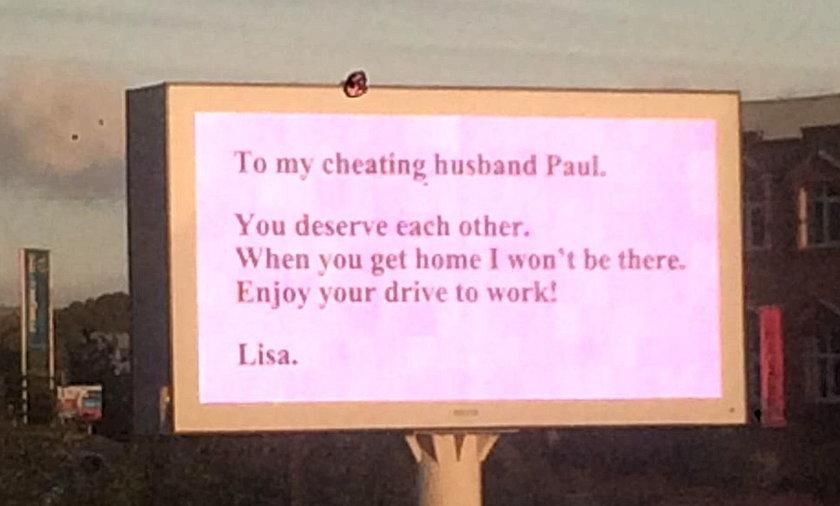 zdrada żona bilbord