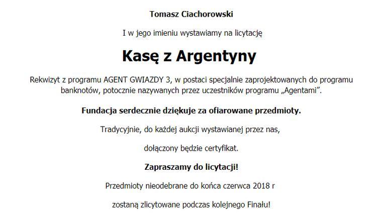 Tomasz Ciachorowski dla WOŚP 2018