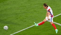 Captain marvel: Luka Modric led Croatia into the last 16 of Euro 2020 with a stunning goal in a 3-1 win over Scotland Creator: ANDY BUCHANAN
