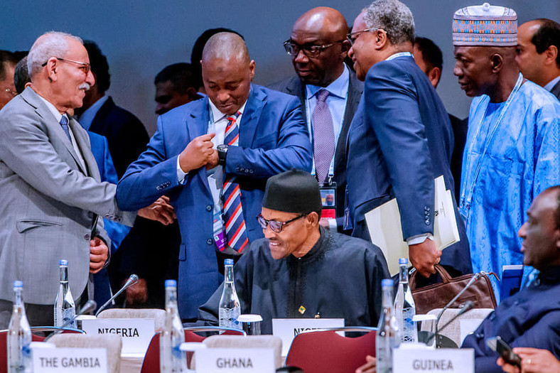 President Muhammadu Buhari  participates at the Plenary Session 3 (Facebook/Femi Adesina)