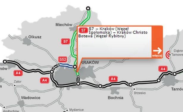 """Trasę o długości 4,5 km wraz z dwupoziomowymi węzłami drogowymi: """"Rybitwy"""" i """"Igołomska"""" oraz mostem wantowym na Wiśle wybudowały spółki Strabag i Strabag Infrastruktura Południe."""